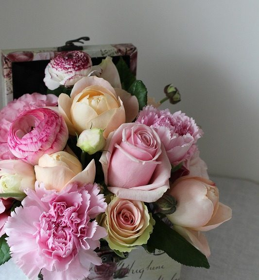 elegant flowers in a box